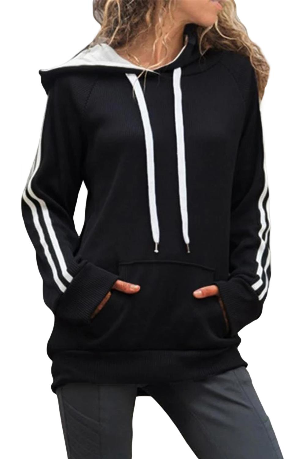 Black Basic Cotton Hoodie with Kangaroo Pocket