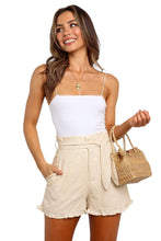 Load image into Gallery viewer, Beige Ruffled Trim High Waist Getaway Shorts