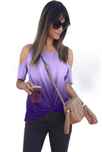 Load image into Gallery viewer, Purple Gradient Cold Shoulder Knot Twisted T-Shirt
