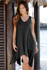 Black Handkerchief Hem Crochet Back Sundress