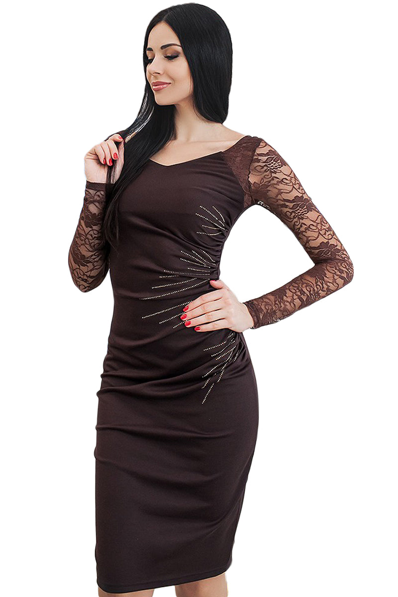Black Lace Sleeve Embroidery Ruched Sheath Dress