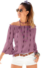 Load image into Gallery viewer, Purple Elasticised Neck Floral Print Blouse