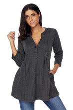 Load image into Gallery viewer, Charcoal Cable Knit Button Neck Swingy Tunic