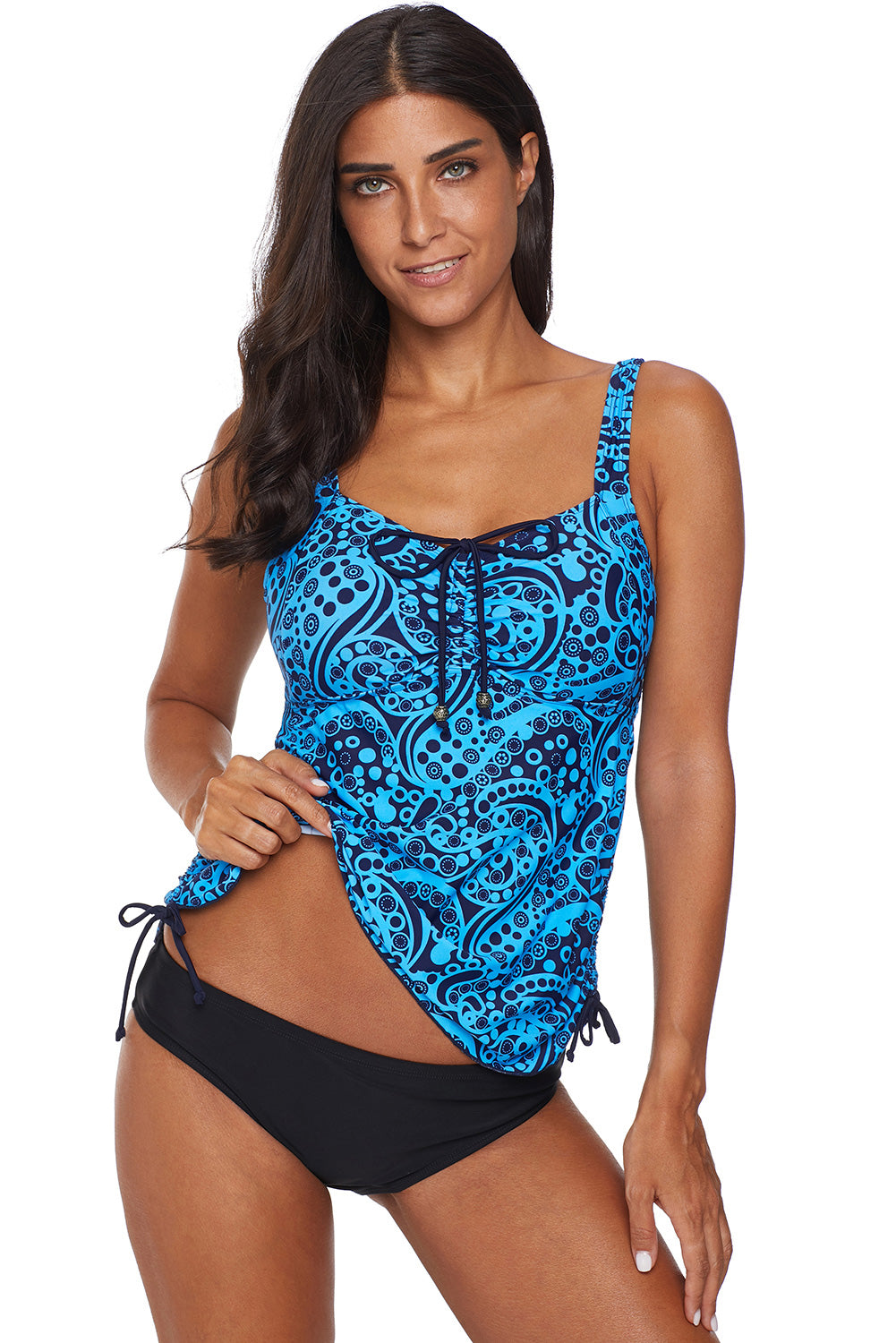 Green Floral Print Gather Ruched Tankini Set