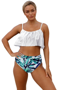White Ruffle Top High Waist Bottom Bikini Swimsuit