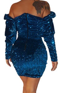 Blue Sequin Off Shoulder Club Dress