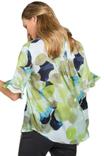 Load image into Gallery viewer, Draped Tie Dye Print Blouse with Flounced Sleeves