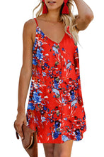 Load image into Gallery viewer, Orange Floral Pattern Buttoned Slip Cami Dress