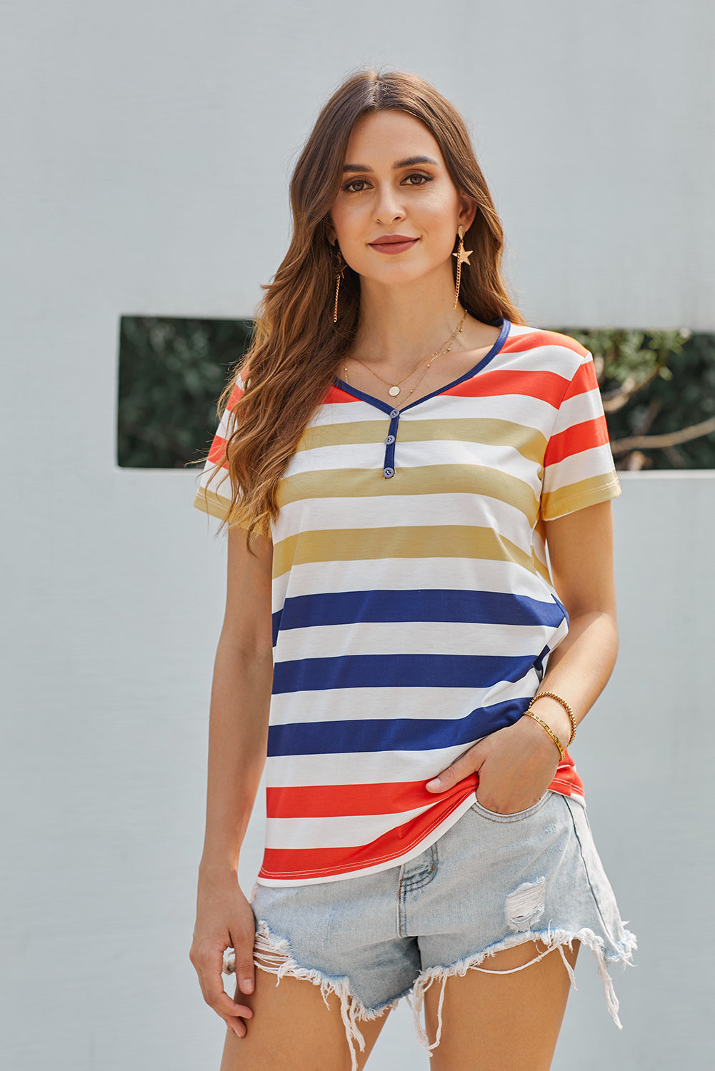 Yellow Striped Henley T Shirt