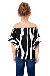 Black Off The Shoulder Vertical Stripes Toddlers Blouse