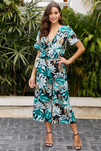 Load image into Gallery viewer, Green Wrap V Neck Floral Wide Leg Jumpsuit with Belt