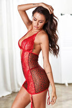 Load image into Gallery viewer, Red Animal Instinct Garter Chemise Set