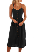 Load image into Gallery viewer, Black Button Down Fit-and-flare Daily Dress
