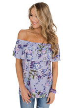 Load image into Gallery viewer, Purple Grow with Me Off The Shoulder Floral Top