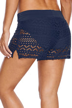 Load image into Gallery viewer, Blue Lace Shorts Attached Swim Bottom