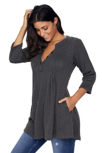 Charcoal Cable Knit Button Neck Swingy Tunic