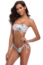 Load image into Gallery viewer, White Floral Rise Bandeau Bikini Swimsuit