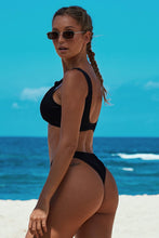 Load image into Gallery viewer, Black Knotted Two-piece Bikini Swimsuit