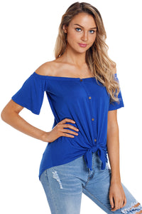Blue Off the Shoulder Button Top