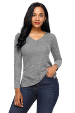 Load image into Gallery viewer, Grey Long Sleeve Knit Hooded Top