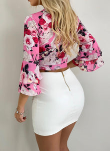 Pink Floral Ruffle Sleeve Crop Top with Tie