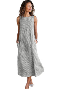 Gray Crew Neck Striped Shift Daily Dress
