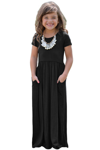 Black Short Sleeve Pocket Design Girls Maxi Dress