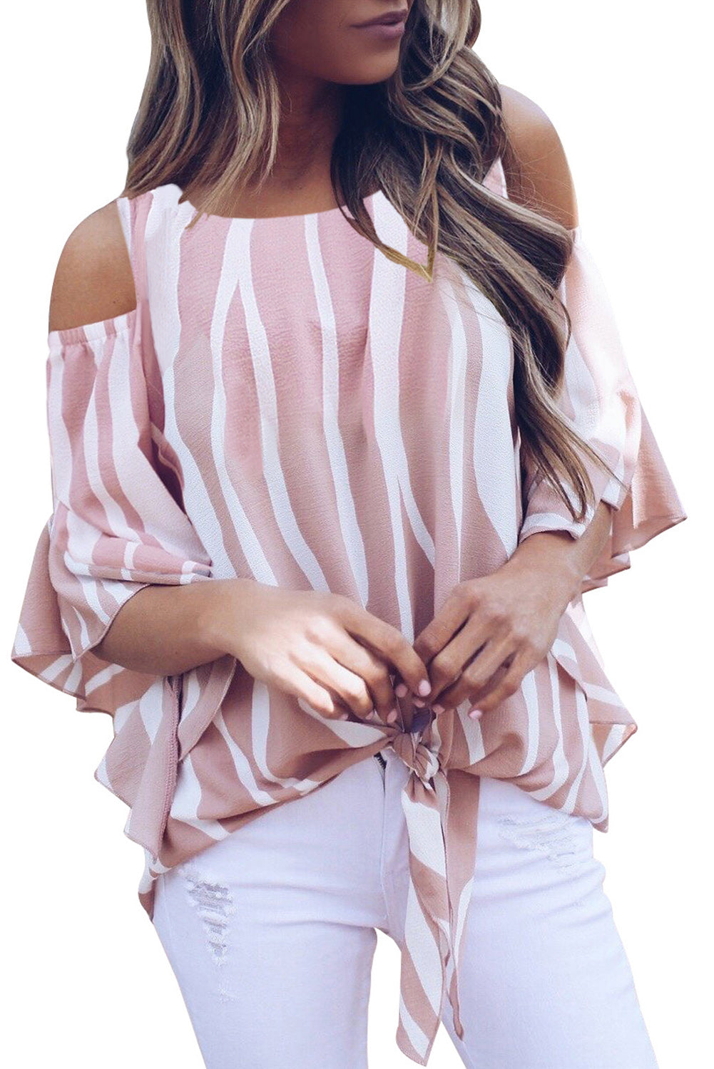 Pink Cold Shoulder Vertical Stripes Blouse