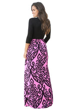 Load image into Gallery viewer, Black Rosy Printed Maxi Dress with Criss Cross Top