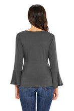Load image into Gallery viewer, Gray Bell Sleeve Wrap Front Tunic