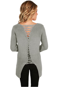 Gray Never Look Back Lace Up Sweater