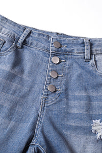 Blue Button Front Distressed Shorts