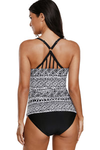Black White Print Pattern Strappy Back 2pcs Tankini Swimsuit