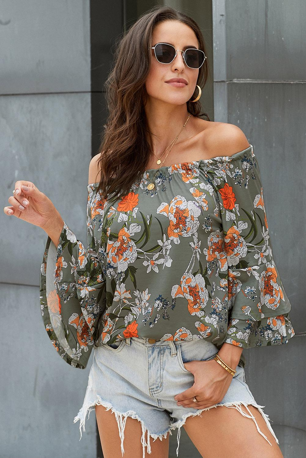 Gray Elasticised Neck Floral Print Blouse