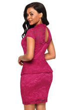 Load image into Gallery viewer, Wine Women's Party Mini Lace Peplum Dress