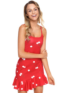 Red Sweet Cheery Print Ruffle Hem Mini Dress