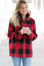 Load image into Gallery viewer, Red Buffalo Plaid Sherpa Pullover