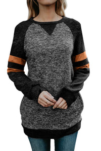 Black Fashion Casual Splice Loose Sweatshirt