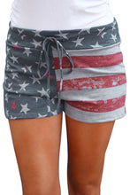 Load image into Gallery viewer, American Flag Print Print Charcoal Casual Shorts