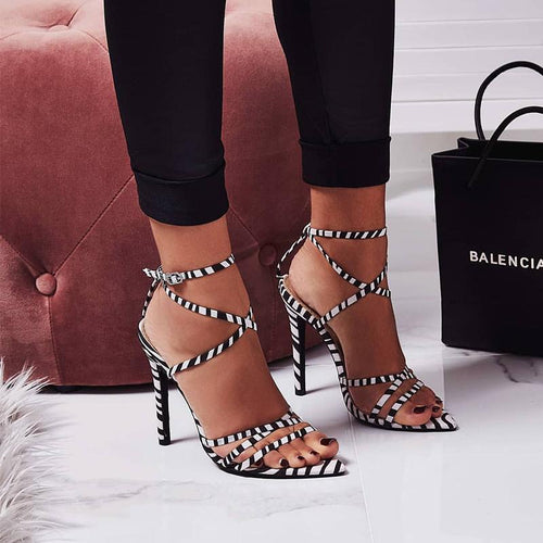 2020 Catwalk High End Luxury High Heel Sheepskin Genuine Leather Sexy Mouth Women Sandals 10Cm Heel Party Wedding Casual Sandal