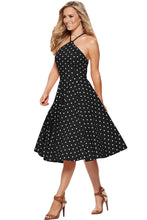 Load image into Gallery viewer, Black White Polka Dot Flared Vintage Dress