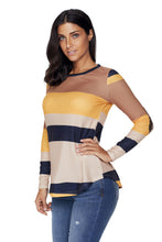 Load image into Gallery viewer, Mustard Color Block Top with Sequin Elbow Patches