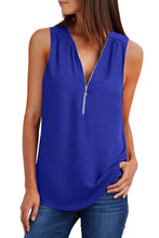 Load image into Gallery viewer, Blue Zip Neckline Sleeveless Shirt Tank