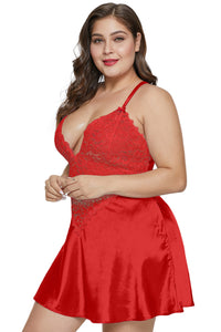 Red Plus Size Satin and Lace Chemise Set