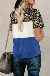 Blue Color Block Leopard Tee