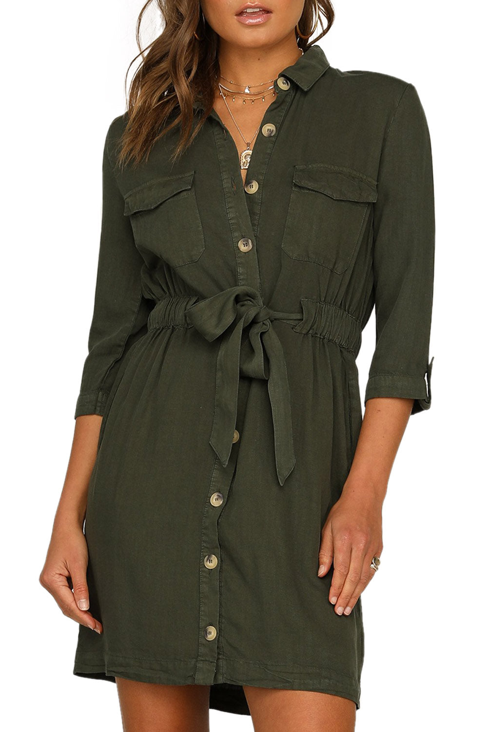 Green Seeker Belted Shirt Dress