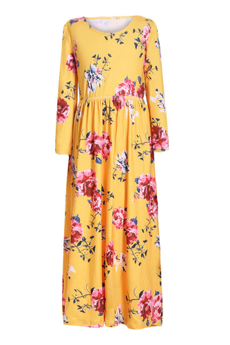 Yellow Floral Maxi Dress for Kids