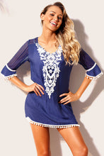 Load image into Gallery viewer, Blue Crochet Pom Pom Trim Beach Tunic Cover up