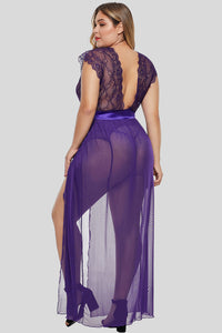 Purple Plus Size Locked Away Lover Lingerie Gown