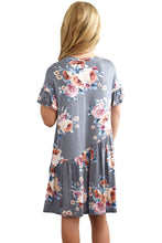 Load image into Gallery viewer, Gray Girls Floral Print Dress